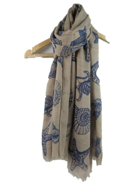 Starfish Print For Women Scarf Shawl Scarves Wrap For Ladies In Red Khaki Grey