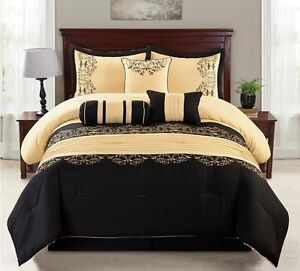 7 Piece luxury KING Bed In a Bag Comforter Set black yellow gold bedding ROYAL