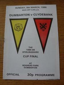 09031986 Stirlingshire Cup Final Dumbarton v Clydebank  Item in very good co - <span itemprop='availableAtOrFrom'>Birmingham, United Kingdom</span> - Returns accepted within 30 days after the item is delivered, if goods not as described. Buyer assumes responibilty for return proof of postage and costs. Most purchases from business s - <span itemprop='availableAtOrFrom'>Birmingham, United Kingdom</span>