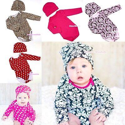 Baby Leopard Long Sleeve Jumpsuit Romper Optional Rose Warm hat Cap 2P Set 0-12M