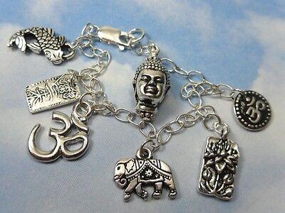 Eastern Philosophies charm bracelet - zen Buddha, sterling silver chain