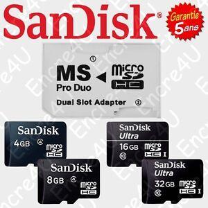 Carte-Memoire-avec-ou-sans-Adaptateur-MS-Pro-Duo-Photo-Video-PSP-Memory-Stick