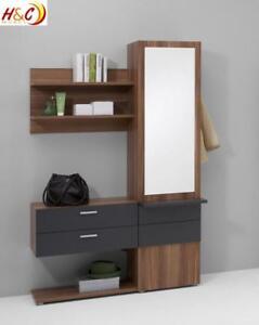 wandgarderobe garderobe schrank mit spiegel mod g122 nussbaum anthrazit ebay. Black Bedroom Furniture Sets. Home Design Ideas