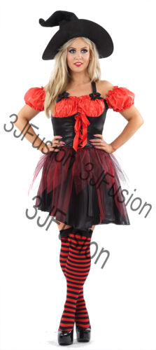 Women Ladies Funky Red Witch Fancy Dress Horror Glamour Halloween Costume ER