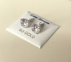 Image Is Loading 9ct White Gold Stud Earrings 8mm Round Lab