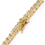 thumbnail 4 - 3mm VVS Lab Diamond 1 Row Yellow Gold Plated Tennis Chain Solid Steel Necklace