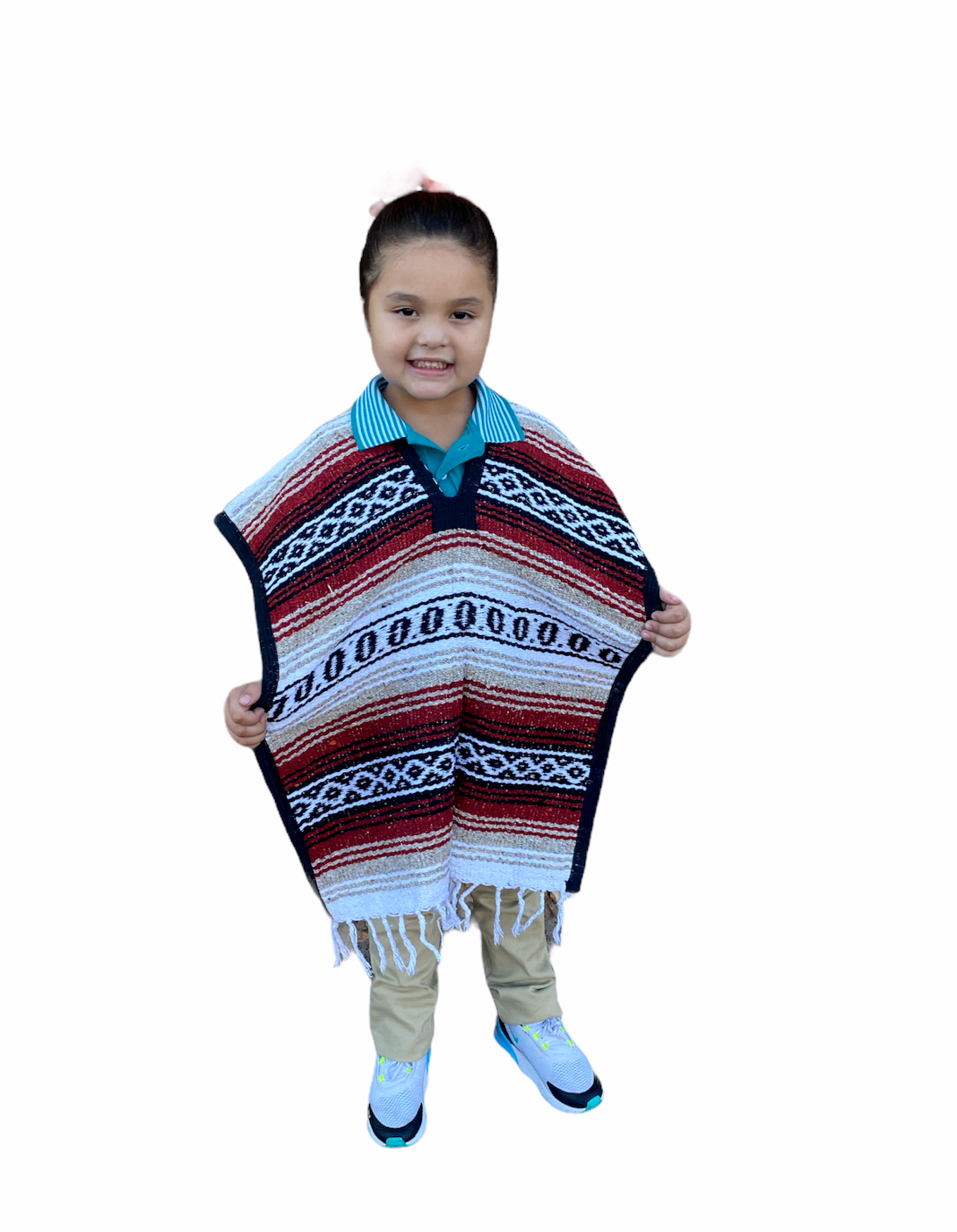 MEXICAN KIDS PONCHO , FALSA , COSTUME ,BLANKET SERAPE GABAN 5 - 9 , TERRACOTA