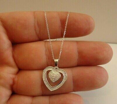925 STERLING SILVER CROSS INSIDE A HEART NECKLACE PENDANT W// LAB DIAMONDS