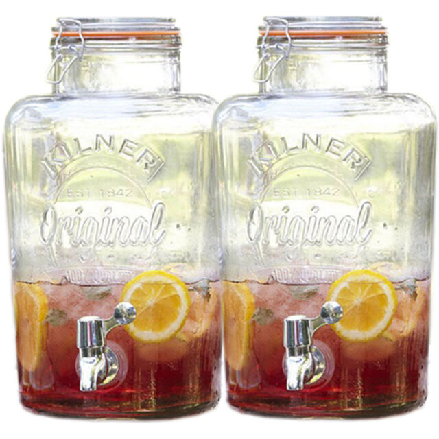 Set Of 2 5 Litre Beer Cocktail Party Clip Top Ice Drinks Storage Jar Dispensers
