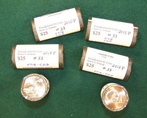 s Truman Presidential Dollars Uncirculated Mint Roll of 2015-P Harry S