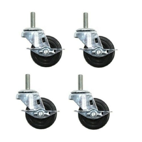 """Four-Swivel Stem Casters 3 x 1-1//4/"""" Wheels 1//2/"""" Threaded Stems W// Brakes"""