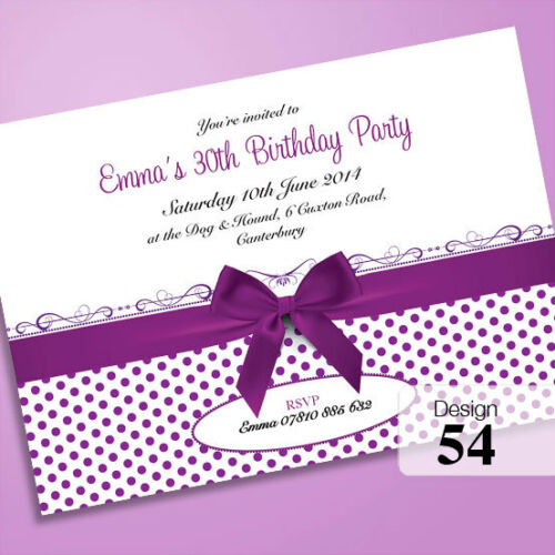 50 Personalisierte Geburtstagseinladungen Party Einladungen 18 21 60. 30 40