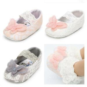 Toddler Newborn Baby Girls 0-18 Months Shoe Butterfly Soft Crib Anti-Slip Princess Shoes