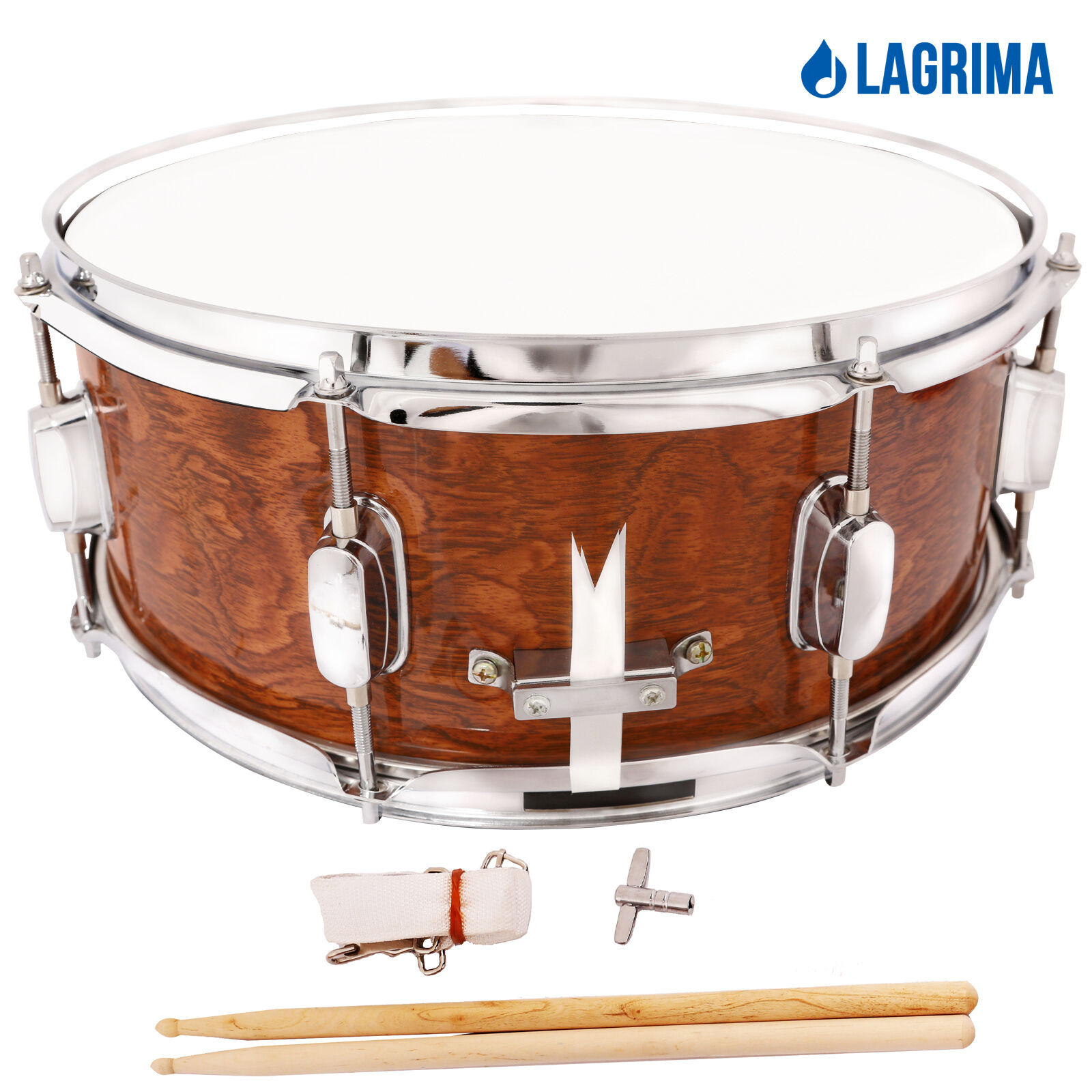 marching snare drum dark wood shell percussion poplar 14x5 5 inch. Black Bedroom Furniture Sets. Home Design Ideas