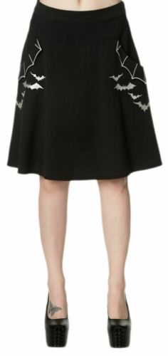 Banned Batting Eyelids Gothic Bat Skater Skirt with Pockets