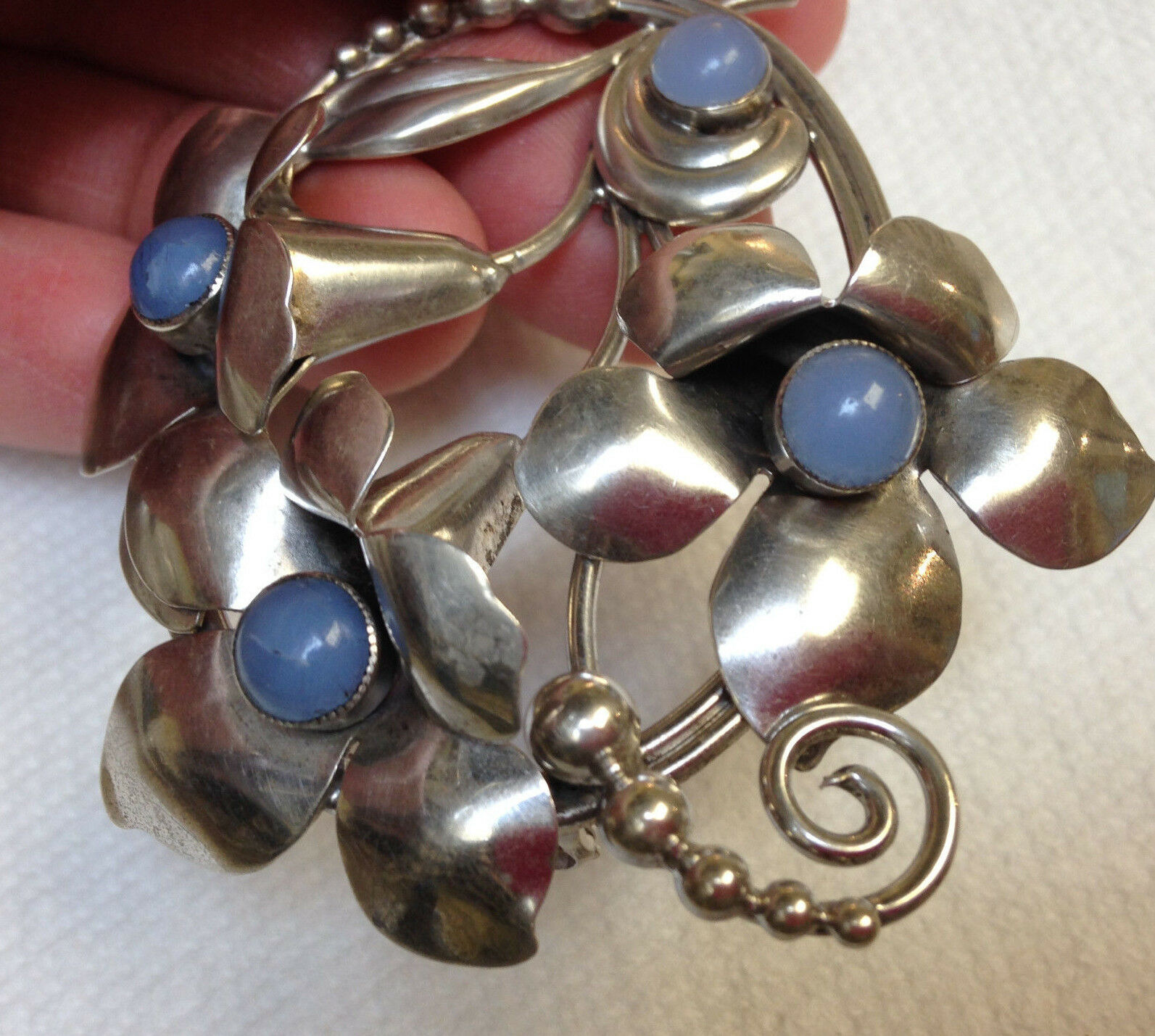 Vintage Retrò argentoo argentoo argentoo Sterling Pietra di Luna Fiore Pin b915cb