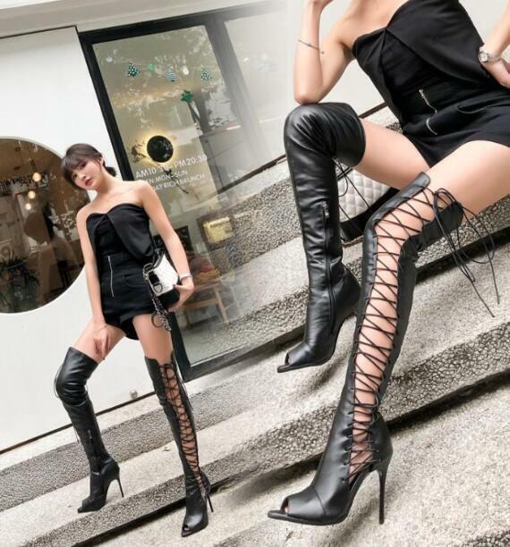 US12 mujer por sobre la rodilla botas Sandalias Puntera Abierta Lace Up Heels Tacones de aguja haihk