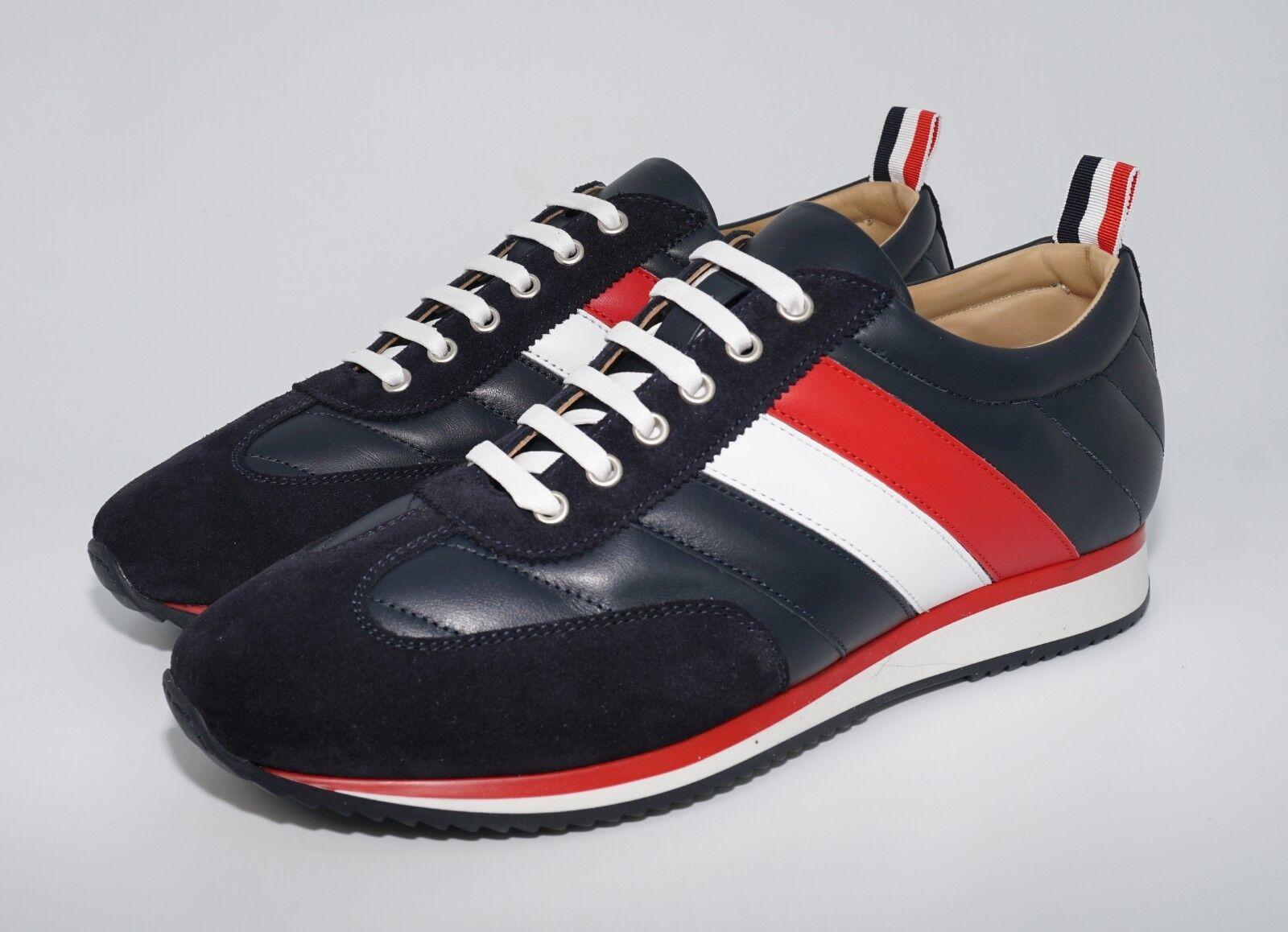 nuova esclusiva di fascia alta Thom Marronee Uomo Quilted Leather and Suede Running scarpe da da da ginnastica, Navy, MSRP  760  comodamente