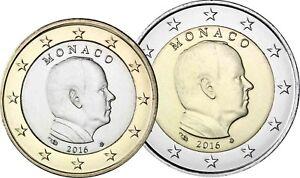 Monaco-2016-Fuerst-Albert-II-Grimaldi-1-Euro-und-2-Euro-Kursmuenzen-bankfrisch