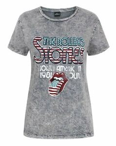 The-Rolling-Stones-Women-039-s-Acid-Wash-T-Shirt
