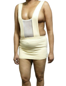Micro Mini Dress Short Beige Women/'s Ladies Girls Fish Net Soft Lace Deep Neck
