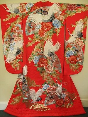 Authentic Japanese Dancing Cranes Wedding KImono Uchikake
