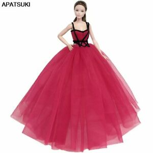 Red-High-Dress-Big-Evening-Dresses-Party-Gown-Vestidoes-Outfits-For-Barbie-Dolls