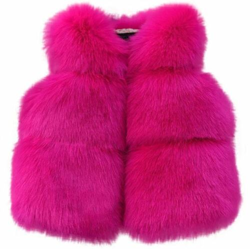 New Soft Faux Fur Baby Girls Coat Casual Winter Jacket Autumn Kids Clothes UK