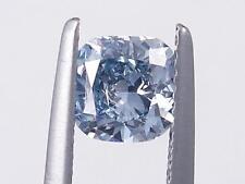 0.90 CARATS CUSHION CUT CERTIFIED LAB GROWN DIAMOND FANCY BLUE SI1