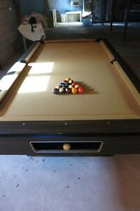 Image Is Loading Pool Table Vintage 8 Ft Gold Felt Early