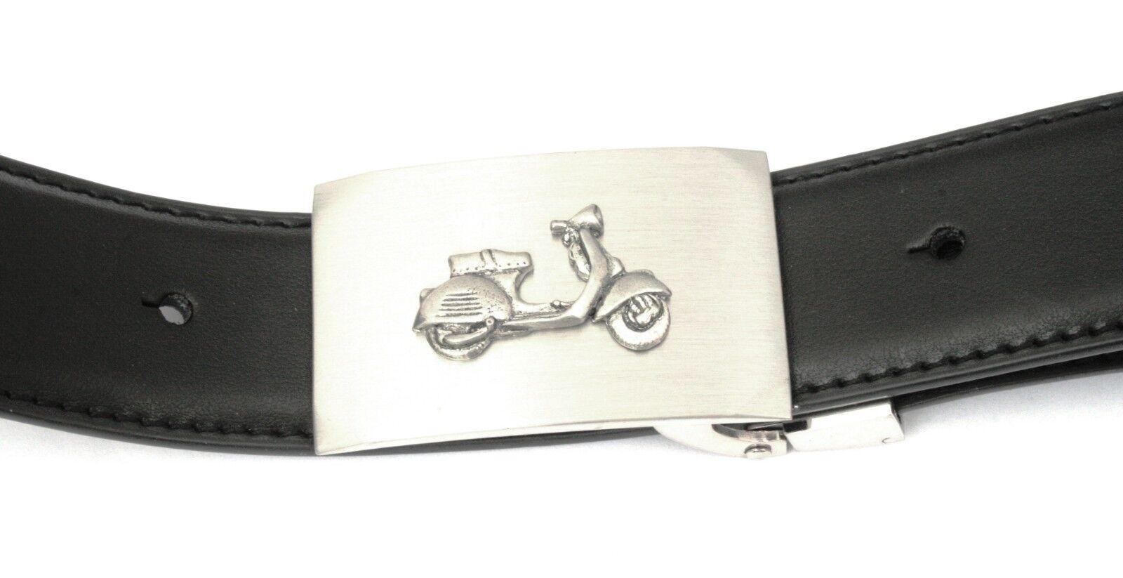 Vespa Scooter Buckle and Belt Set Black Leather Ideal Motorbike Gift 384