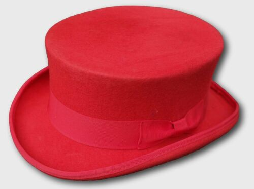 100% Wool red dressage Style Top Hat M approx 57cm 58cm