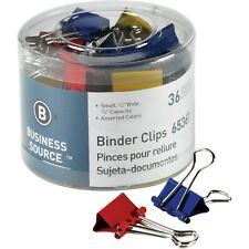 Business Source 65361 Colored Binder Clips Small 08 36pack Assorted