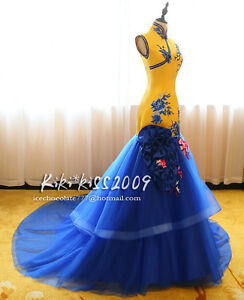 Gothic-Chipao-Vintage-Cheongsam-Lace-Gown-Evening-amp-Wedding-Yellow-Blue-Dress