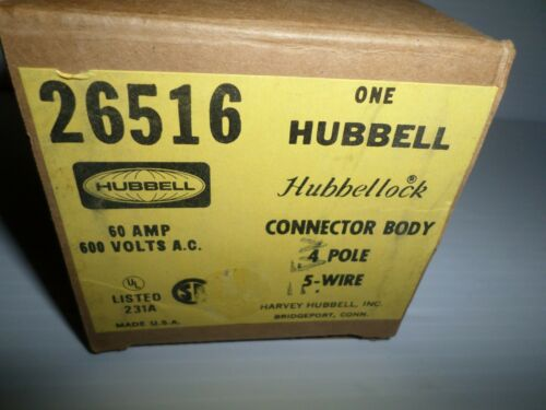 *NEW IN BOX*  HUBBELL HBL26516 60-Amp HUBBELLOCK CONNECTOR 26516 60A 600Vac 4P5W
