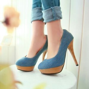 08bc5ef95a67 Image is loading Womens-Stilettos-High-Heels-Platform-Pumps-Shoes-Denim-