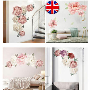 UK-Pink-Peony-Flower-Blossom-Wall-Stickers-Art-Baby-Nursery-Decor-Mural-Decal