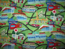 ROUTE 66 MAP ROYS MOTELS CARS COTTON FABRIC FQ