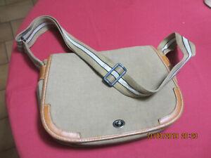 db3a0450cb Sac BESACE LONGCHAMP Besace Toile Garni Cuir Vintage | eBay