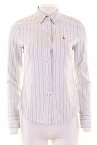 JACK-WILLS-Womens-Shirt-Size-10-Small-White-Striped-Cotton-Loose-Fit-NG15