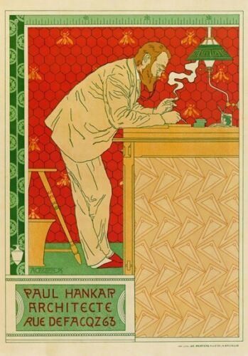 AP33 Vintage Paul Hankar Belgian Architect Advertisement Poster A1//A2//A3//A4