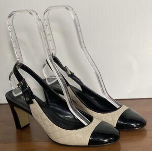 Anne-Klein-Black-Patent-Ivory-Quilted-Heels-Cap-Toe-Sling-Back-9-M-Spectator