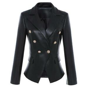 New-Womens-Fashion-Double-Breasted-Black-Leather-Blazer-Coat-Gold-Buttons-Jacket