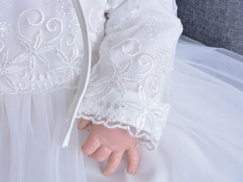 Embroidery Toddler Christening Tulle Gown New Baby Lace Baptism Dress 3-24 Month