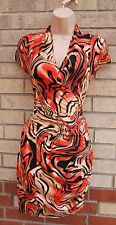 B.P.C FASHION ORANGE ABSTRACT PRINT RUCHED SIDE TUBE BODYCON FIT DRESS S 8 10