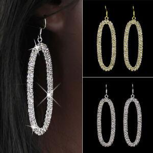 AS-Women-039-s-HUGE-Bling-Oval-Rhinestone-Hoop-Dangle-Hip-Hop-Earrings-Jewelry-Fanc