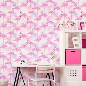 Flamant-Rose-et-Palmier-Feuilles-Luisant-Papier-Peint-fine-decor-FD42214