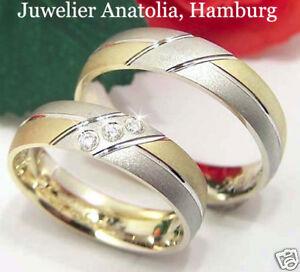 Eheringe-Trauringe-585K-Weiss-Gelb-Gold-0-03ct-Brillant