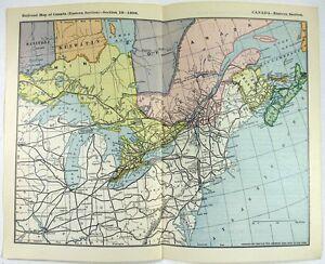 image is loading original 1898 railroad map of eastern canada ontario