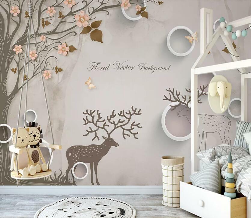3D Hirsch Baum H2121 Tapete Wandbild Selbstklebend Abnehmbare Aufkleber Wend